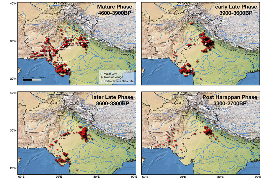 four maps of the northwestern regions of South Asia showing the settlements of an ancient civilization disappearing.