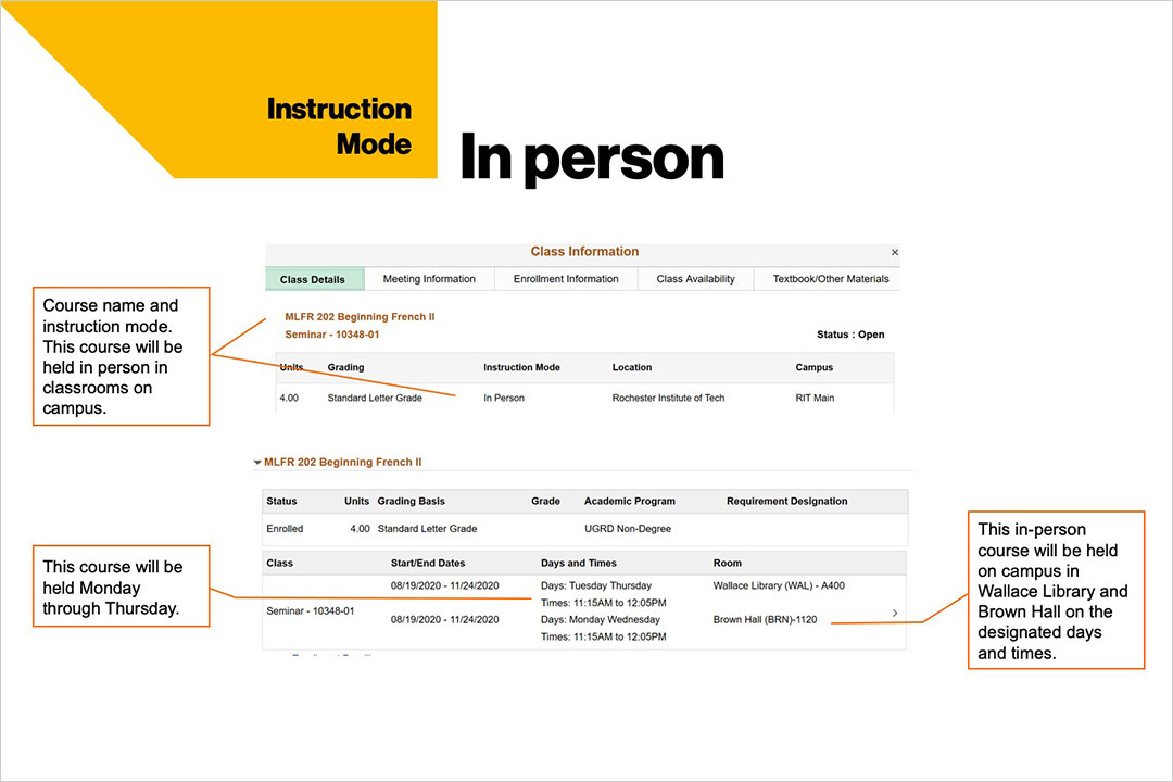 sample course schedule that shows in-person instruction mode at RIT.