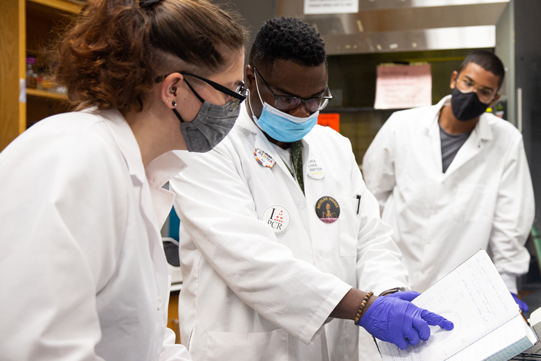 professor working with two students in a biology lab