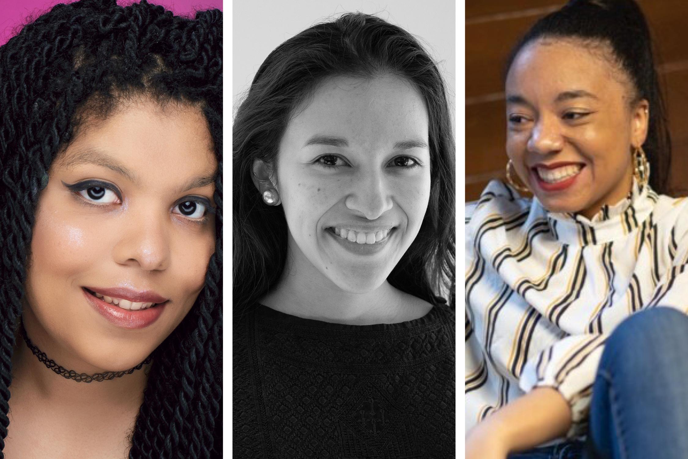 Split headshots of Joy Anderson, Rebeca Posadas-Nava and Aria Dines.