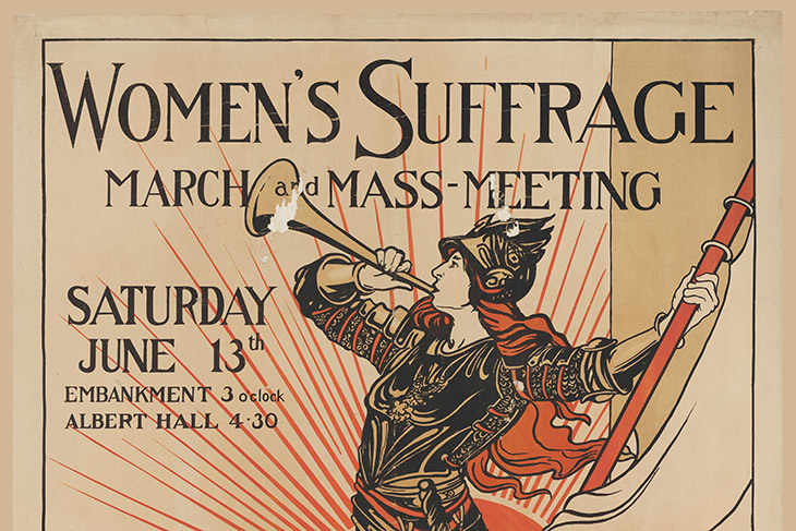 historical poster announcing a Women's Suffrage March and Mass Meeting.