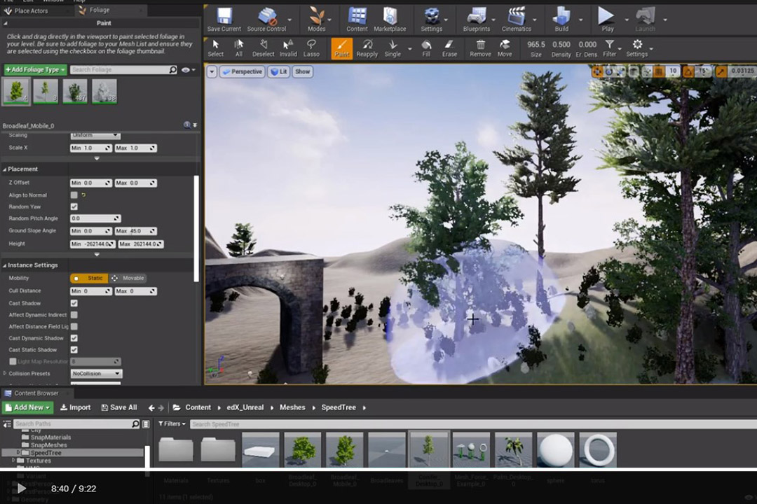 screenshot of Unreal Engine editing software.