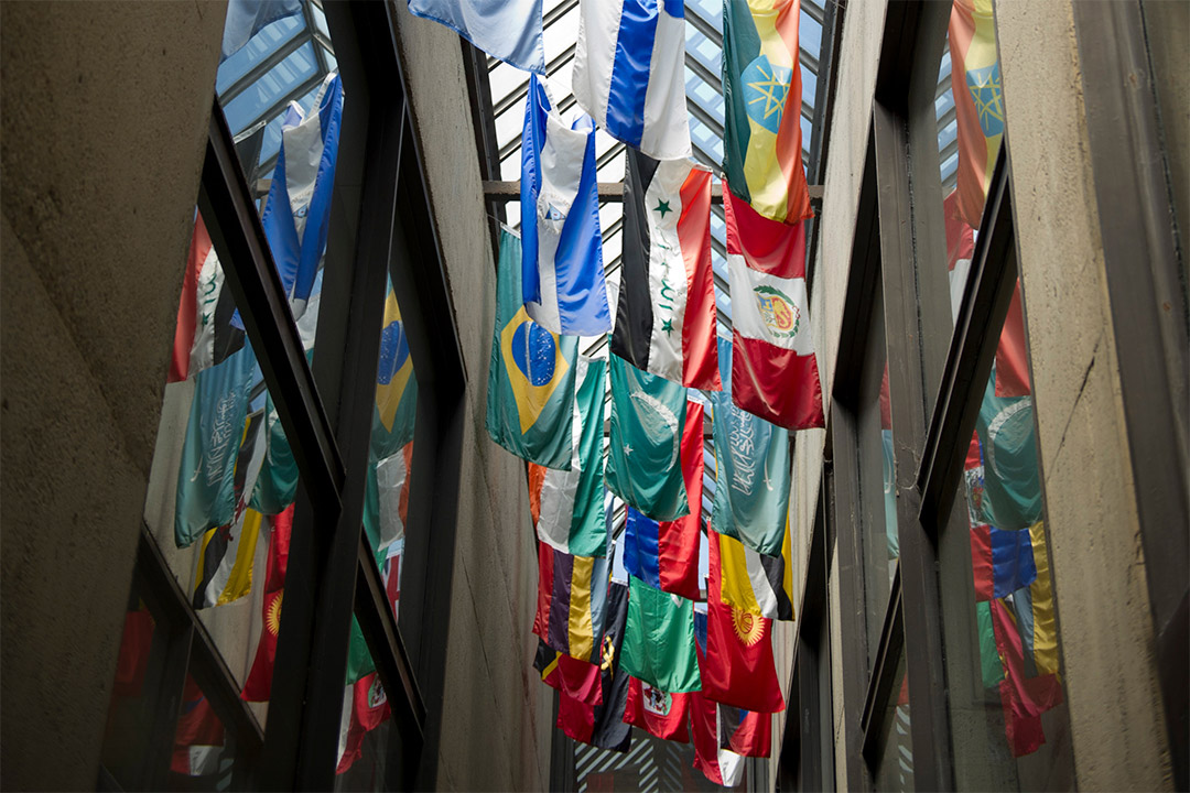 flags of different countries hanging from the glass ceiling in a hallway.