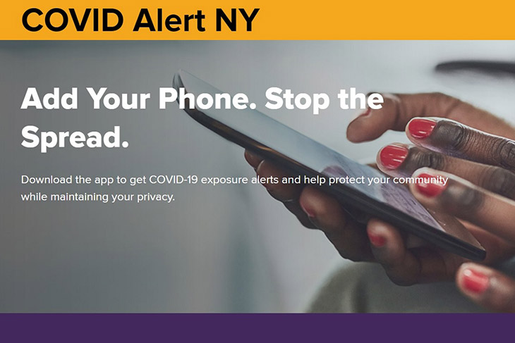 graphic with hands holding a smartphone and the words: COVID Alert NY: Add your phone. stop the spread.