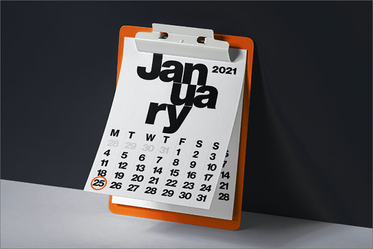 graphic of calendar of the month of January with the 25th circled.
