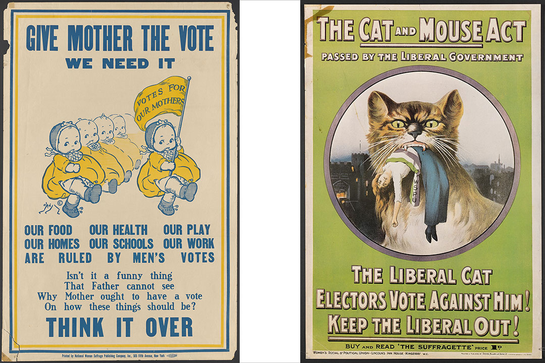 two posters from the 1920s supporting the suffrage movement.