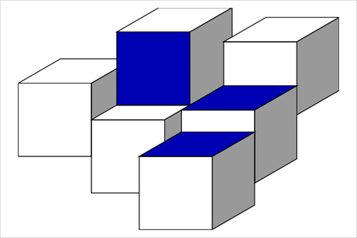 illustration of six cubes all touching at least two sides to another cube.