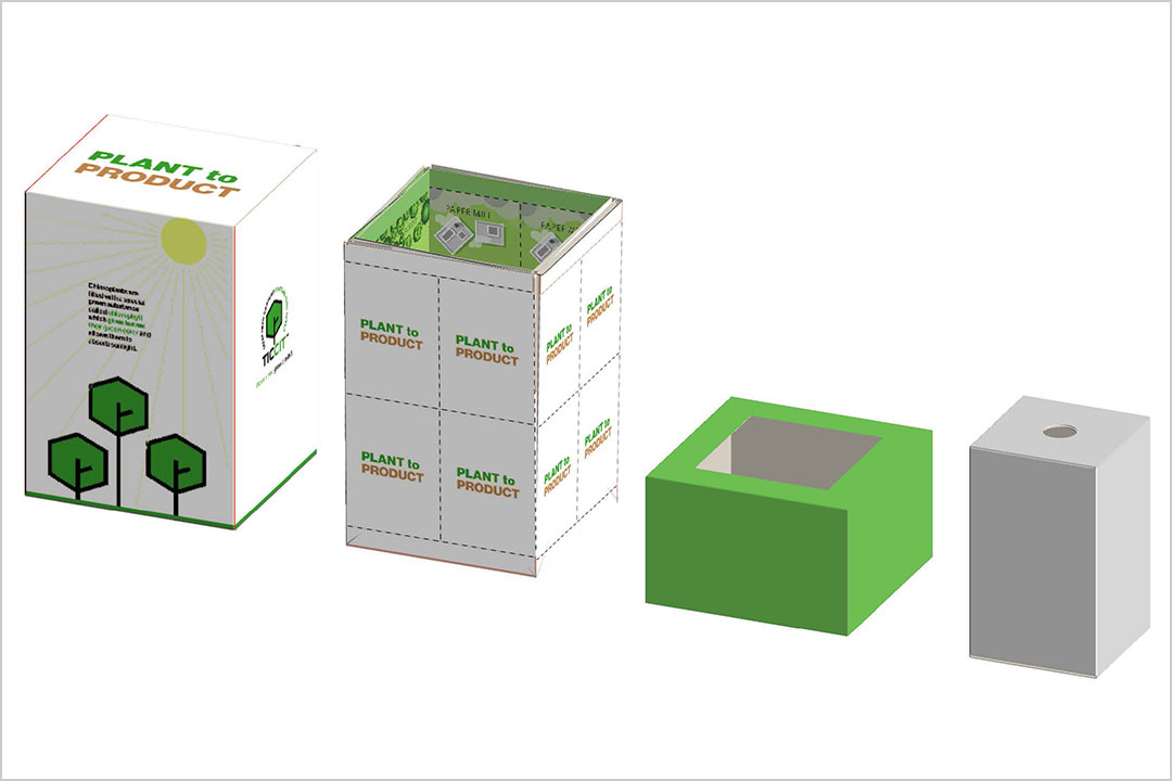 four pieces of entry in paperboard packaging competition.