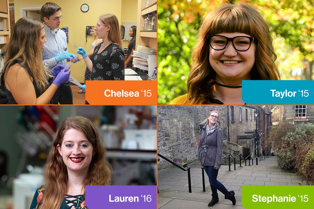 collage of four female chemistry alumni