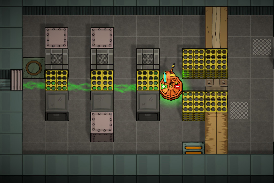 screenshot of video game Tengam showing a robot in a maze.