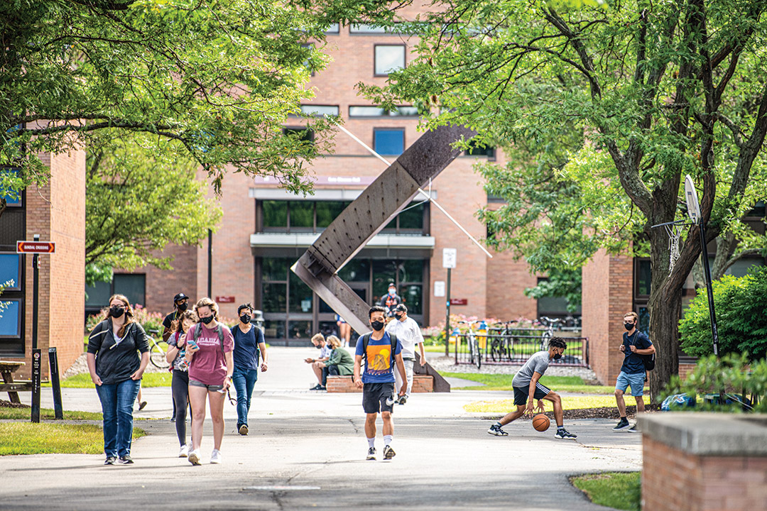 students walking to class outside.