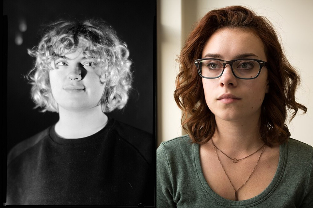 A split screen of headshots of Devin Hull on the left, Sophie Walter on the right.