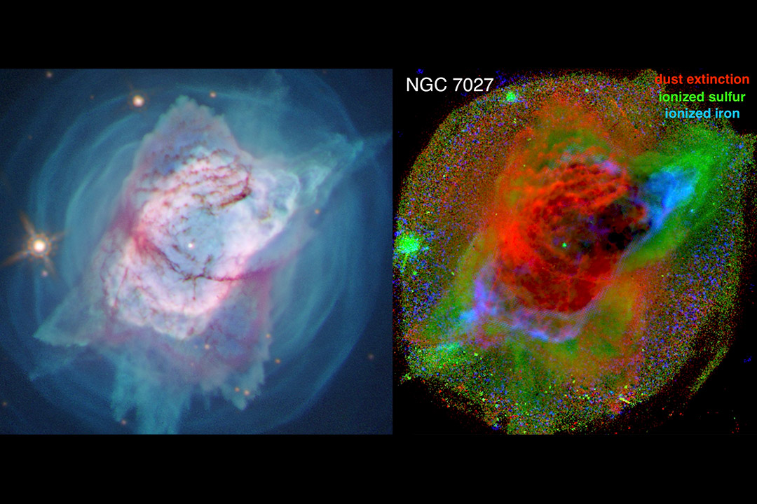 side-by-side images of the Jewel Bug Nebula using different colors to highlight different areas.