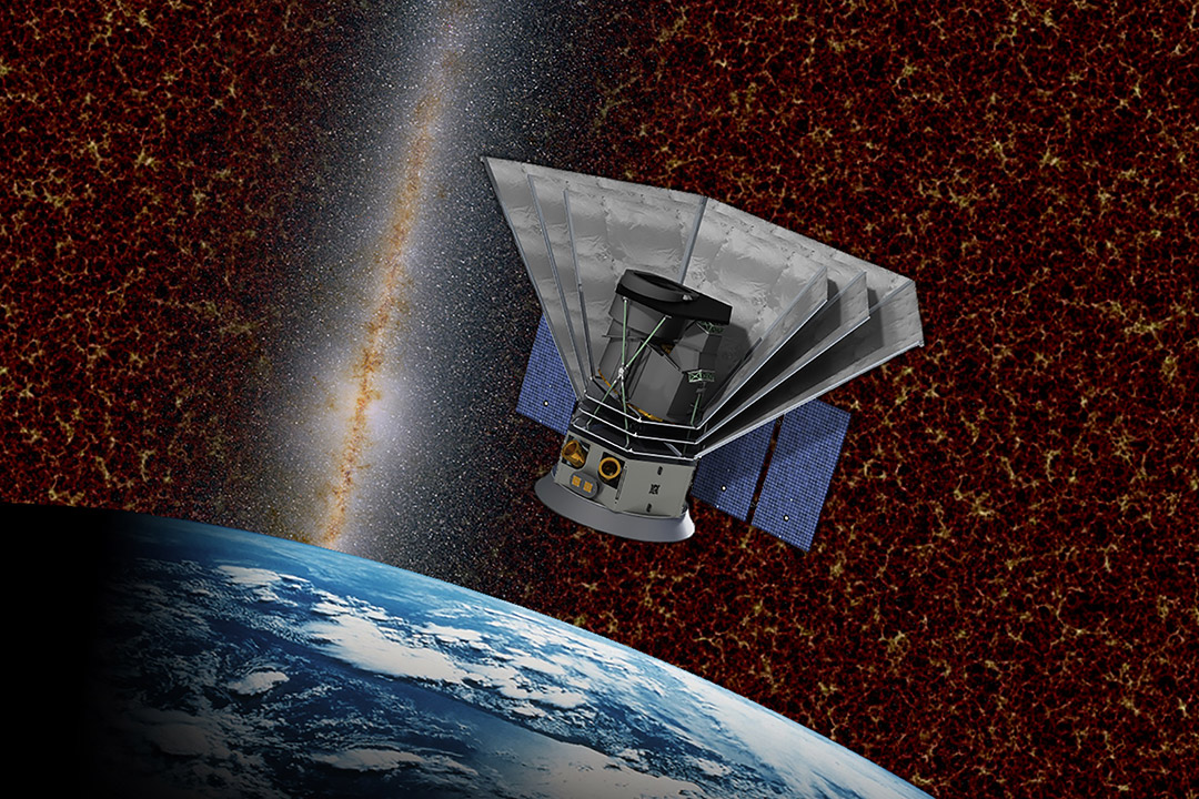illustration of telescope in space.
