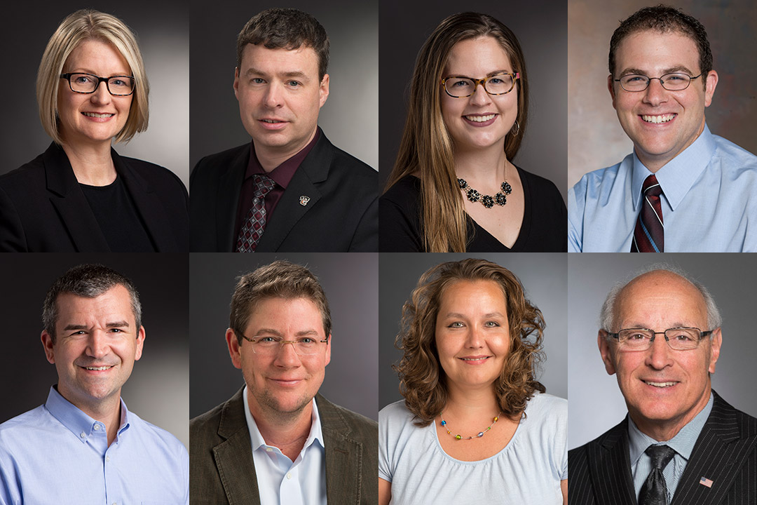 eight portraits of RIT staff members.