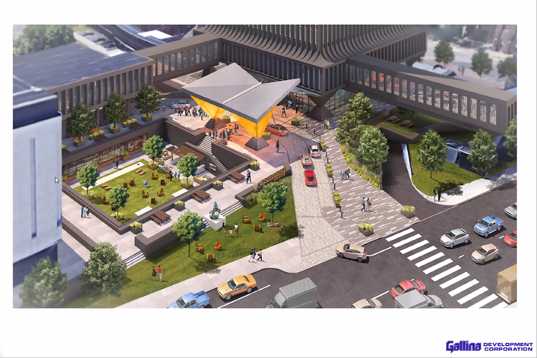 A Zoom presentation featuring a rendering of Innovation Square in downtown Rochester.