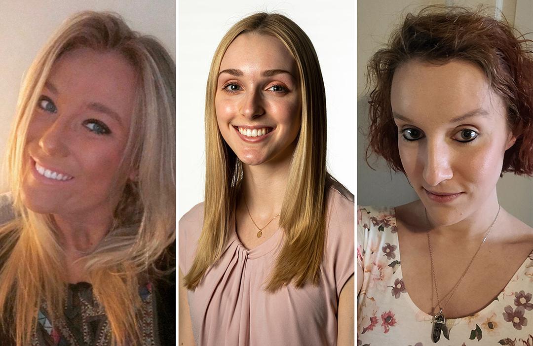 Three portraits of Allie Bergeman, Emilie Ravena and Alexa Ralston.