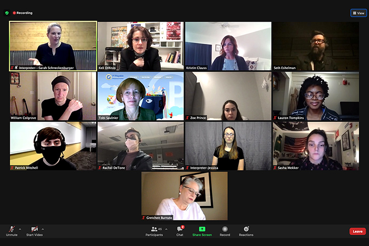 screenshot of 13 people on a Zoom videoconference call.