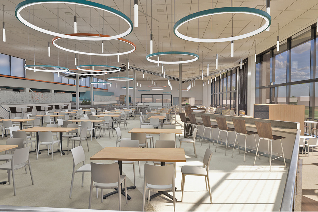 artists rendering of tables and chairs in a dining hall.