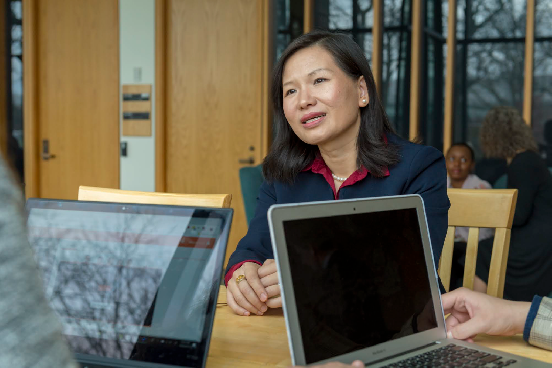 Saunders professor, Rong Yang speaks to colleagues at Saunders College of Business
