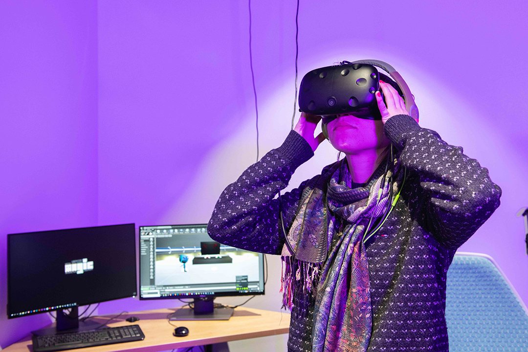 person wearing a virtual reality headset.