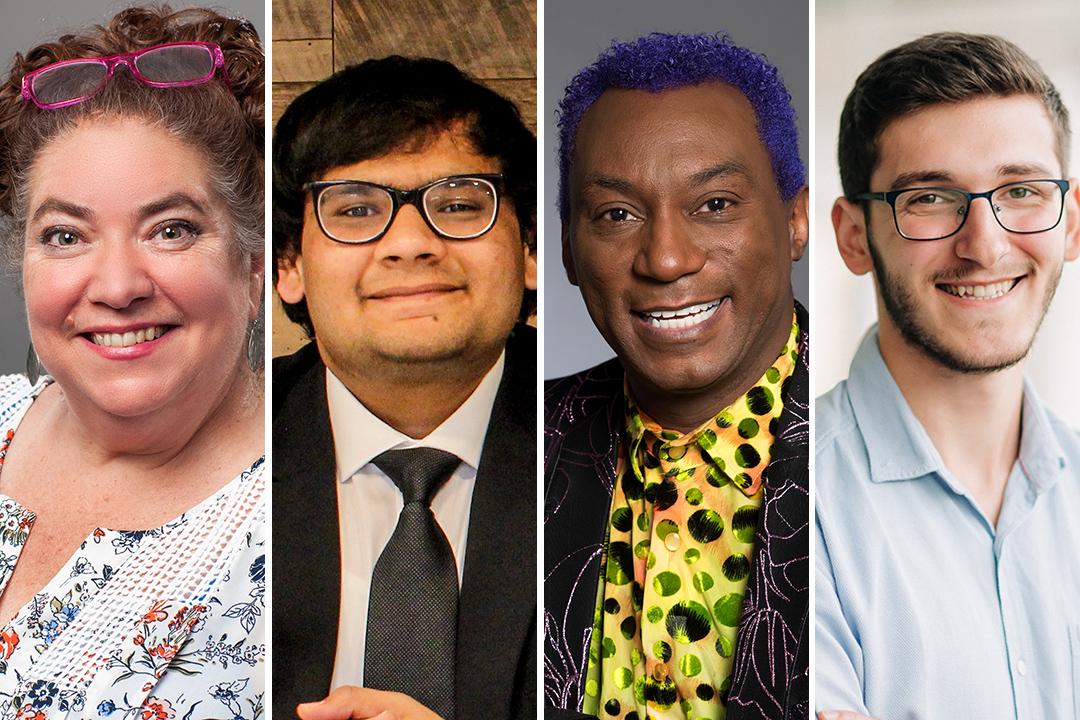 side-by-side portraits of Luane Davis Haggerty, Bhuvish Mehta, Thomas Warfield, and Clirim Sheremeti