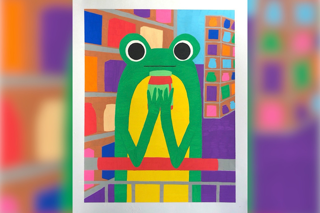 An illustration of a frog holding a jar in a grocery store.