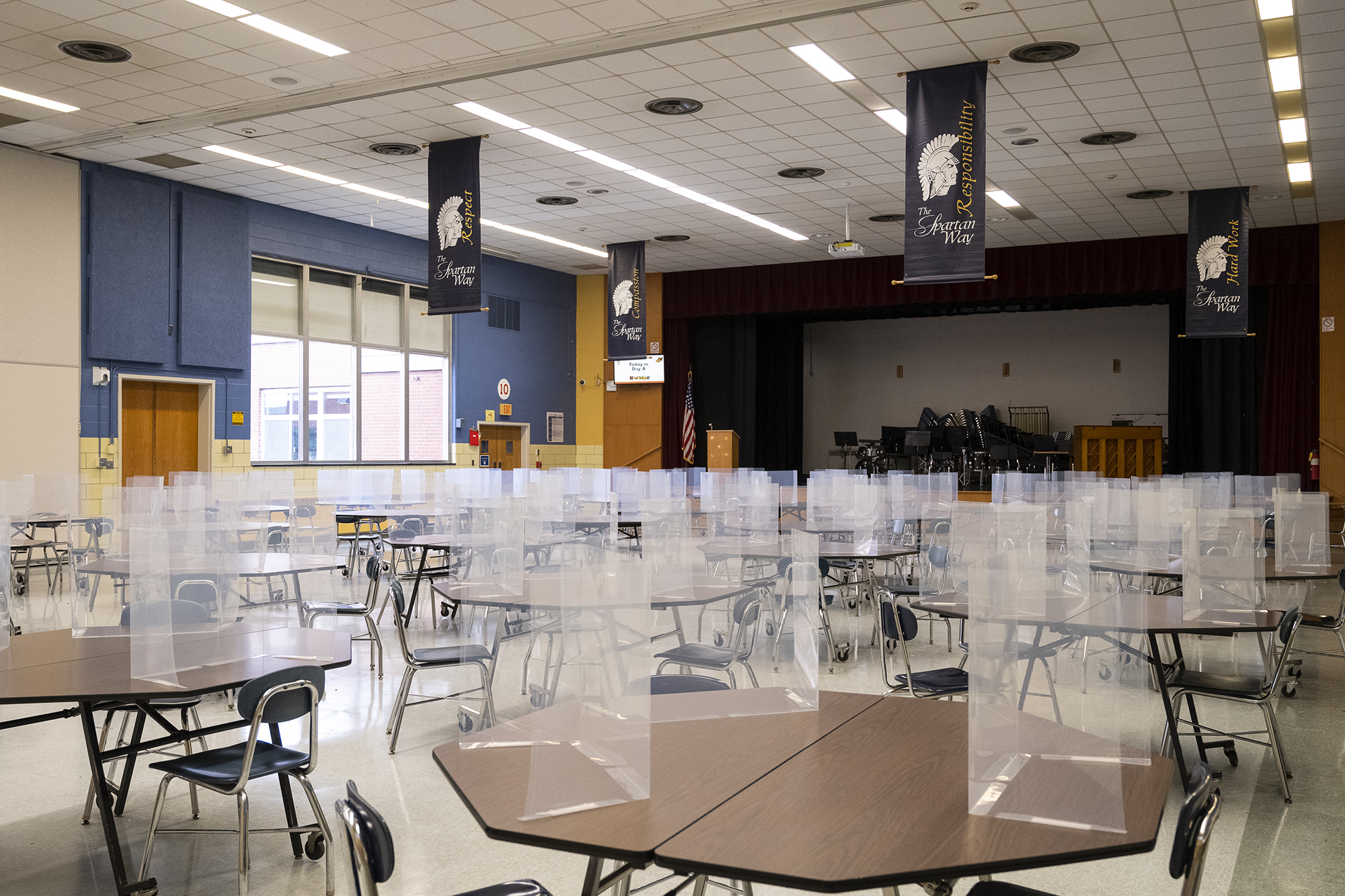 A view of the Gates Chili cafeteria, set up to accommodate social distancing.