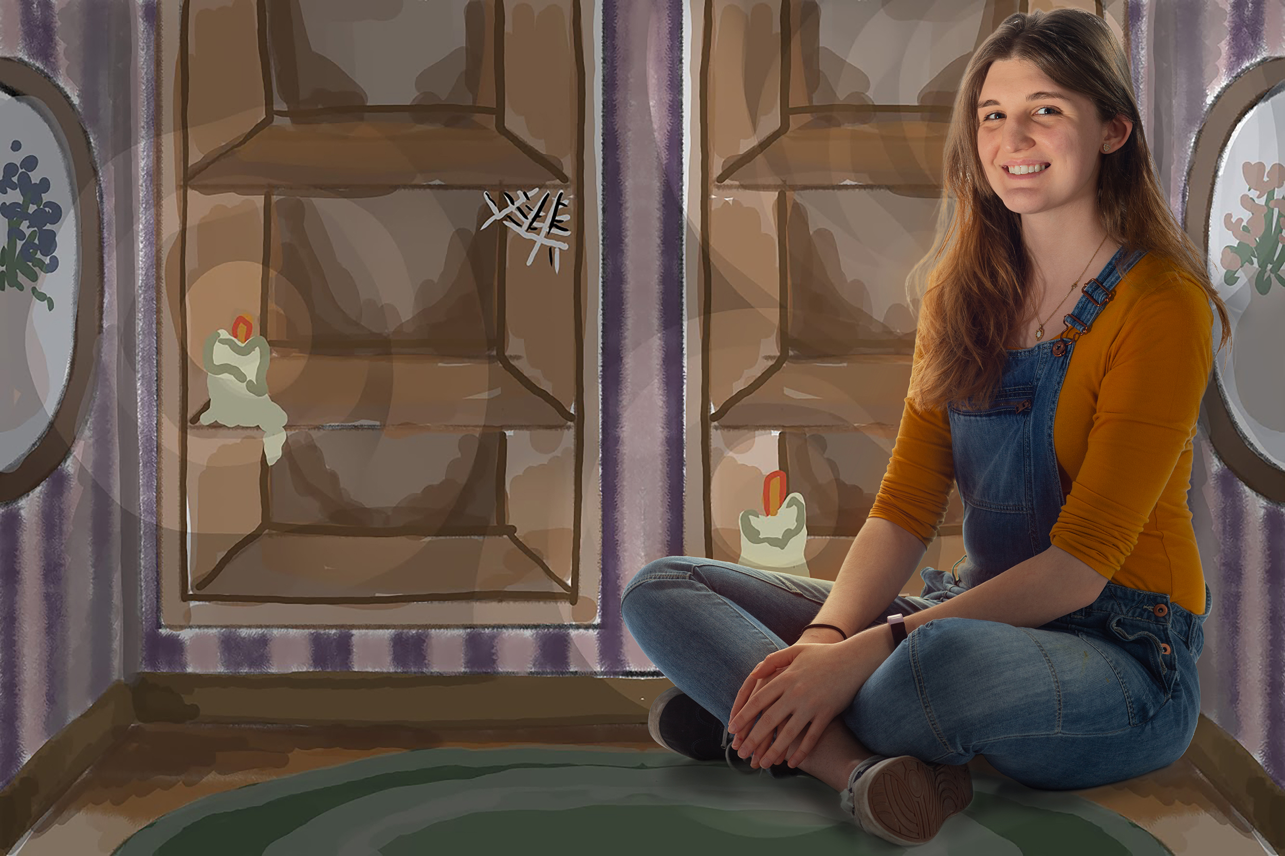 A composite image of Julie Toich set over a background of an illustration.