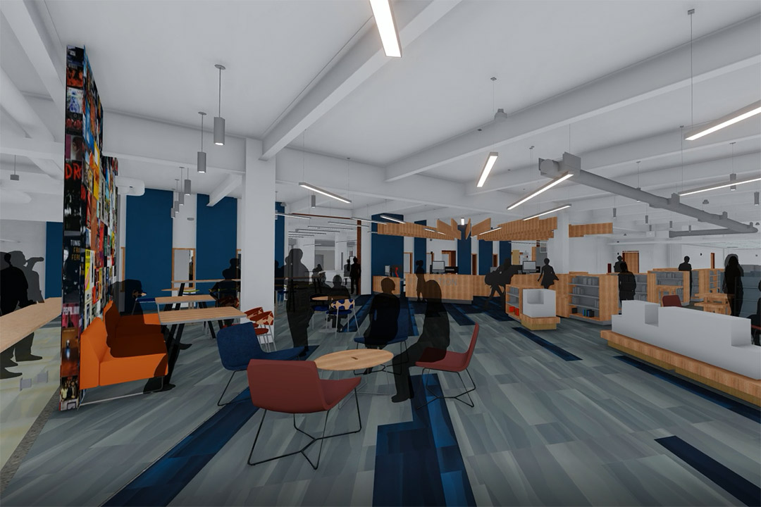 rendering of library circulation desk and several small tables and chairs.
