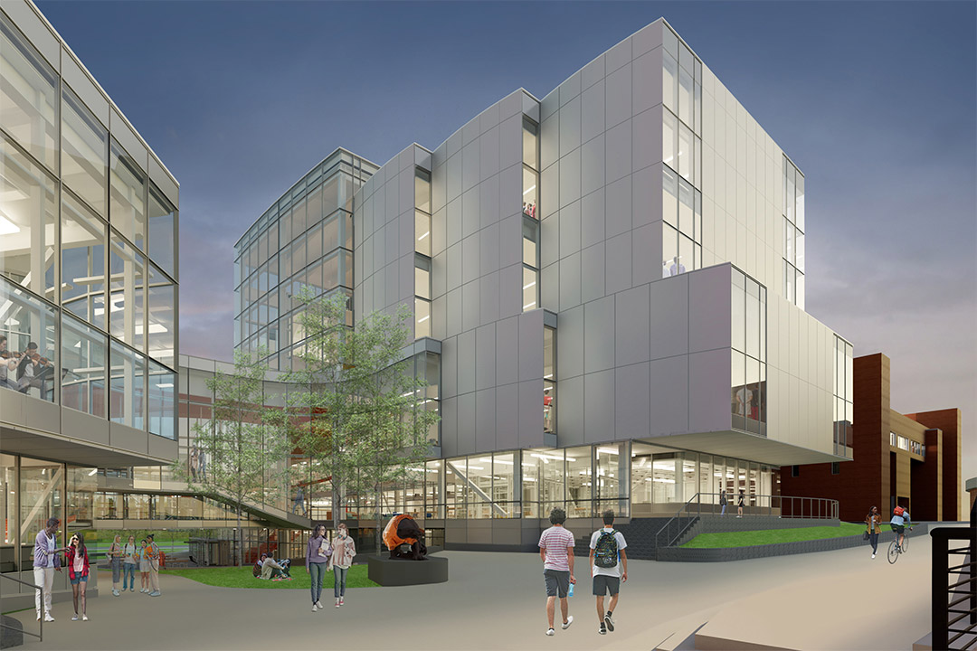 artists rendering of exterior of multi-story glass building.