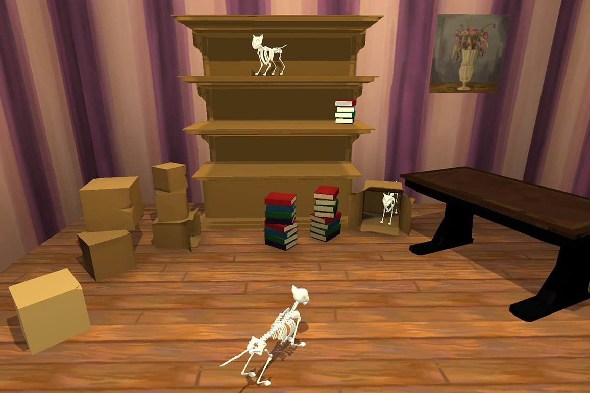 A render of cat skeletons in a room with books and furniture.