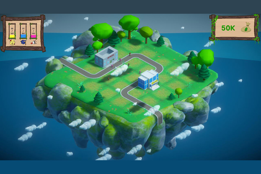 screenshot of a video game with a floating city.