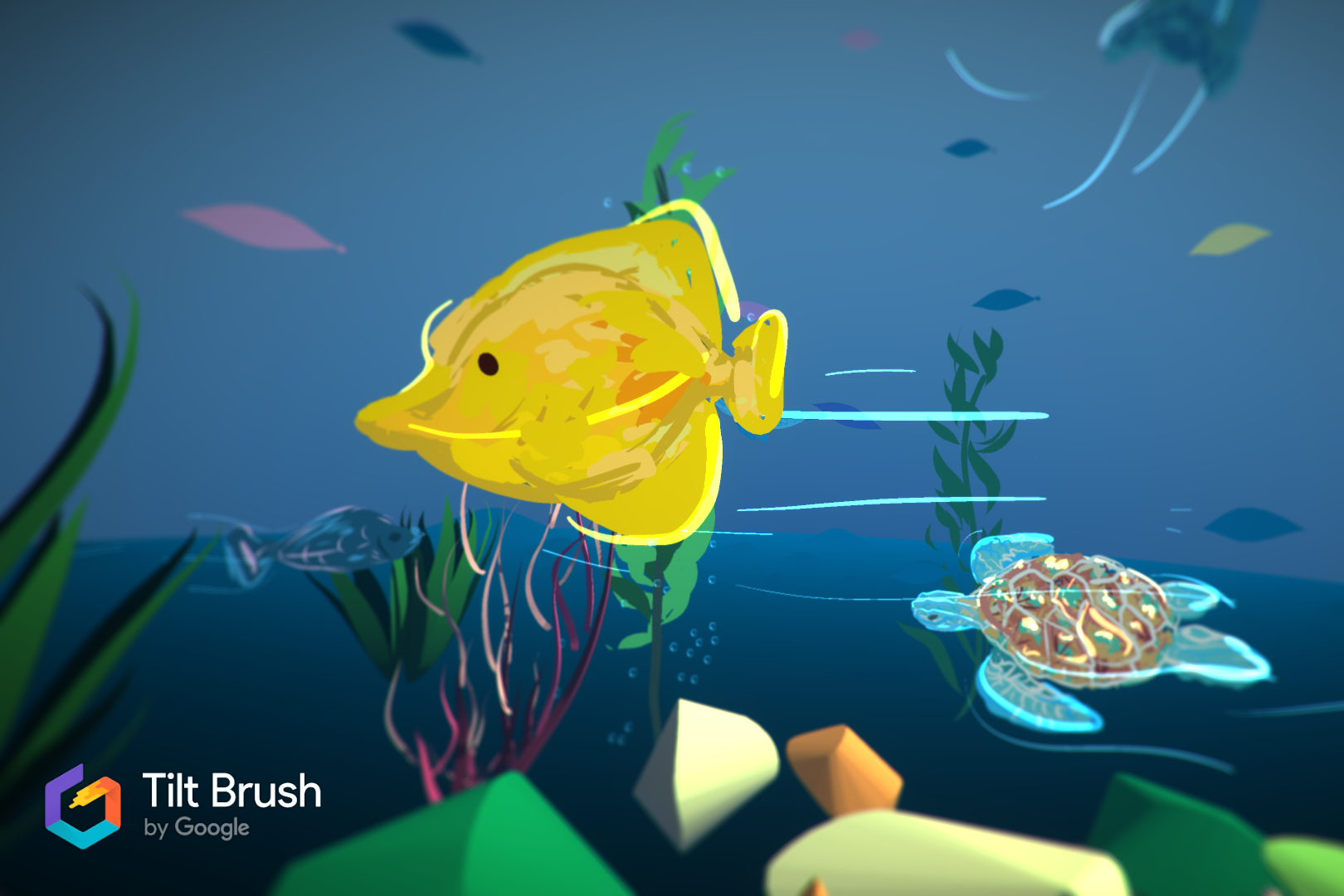 Vibrant-colored sea life, painted into a VR world.