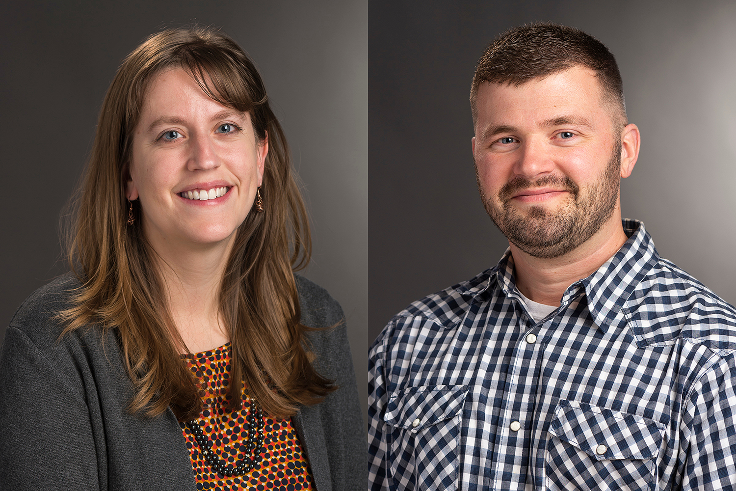Side-by-side headshots of Kelly McCauley Krish and Christopher Cameron.
