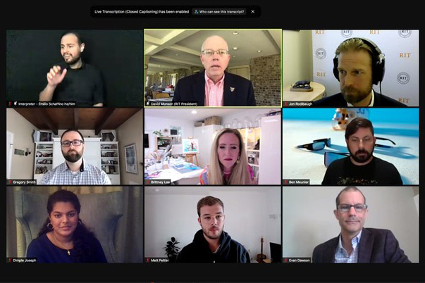 screenshot of nine people on a Zoom video call.
