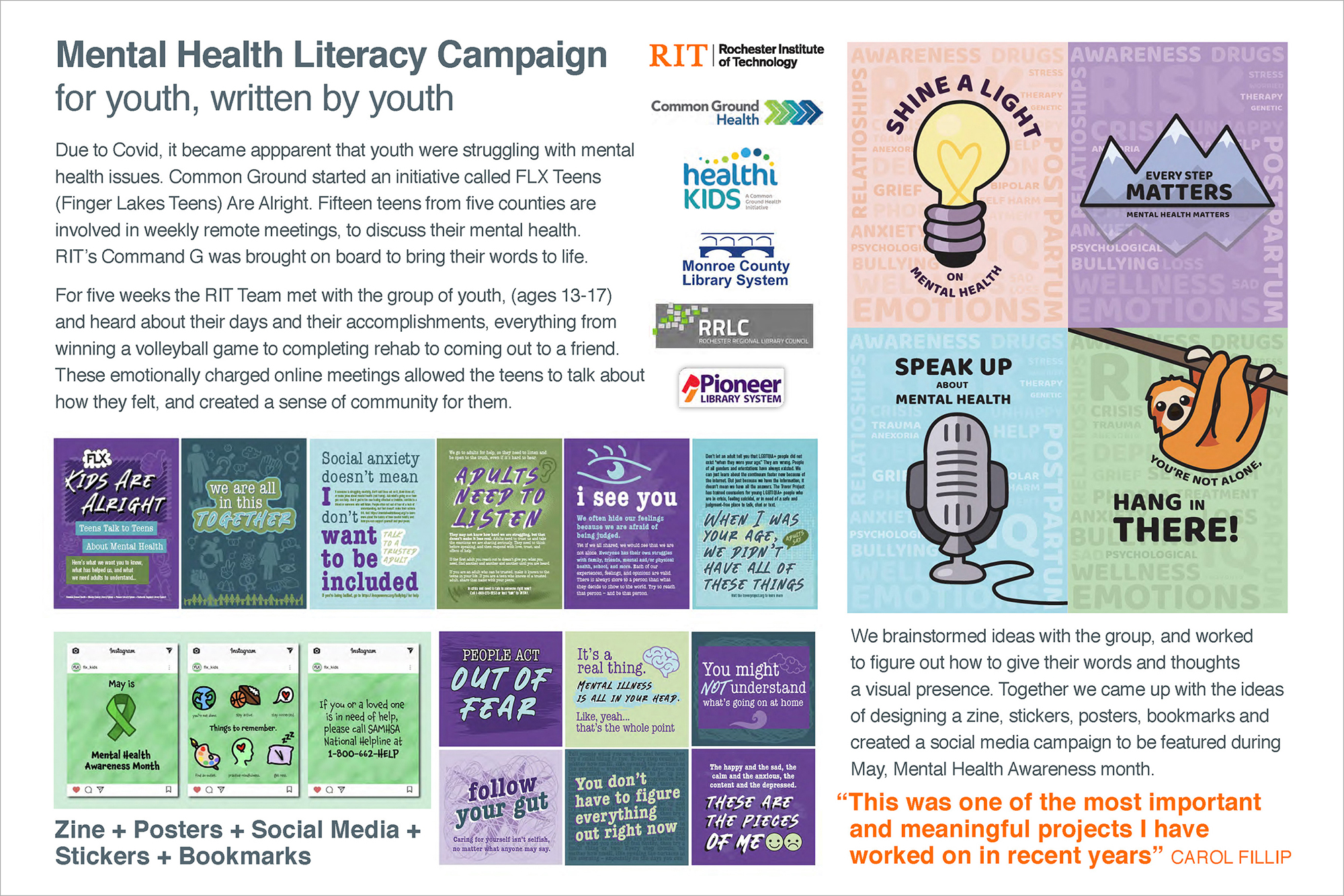 A graphic outlining a mental health literacy campaign for Common Ground Health.