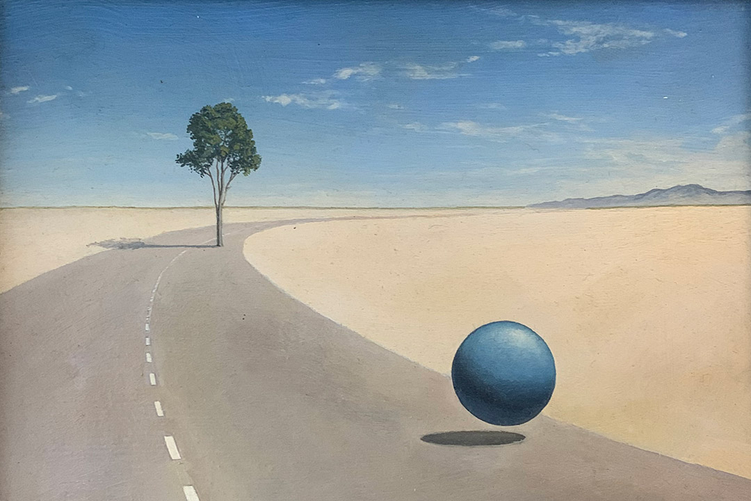 artwork featuring a road in a desert setting with a tree and a blue ball.