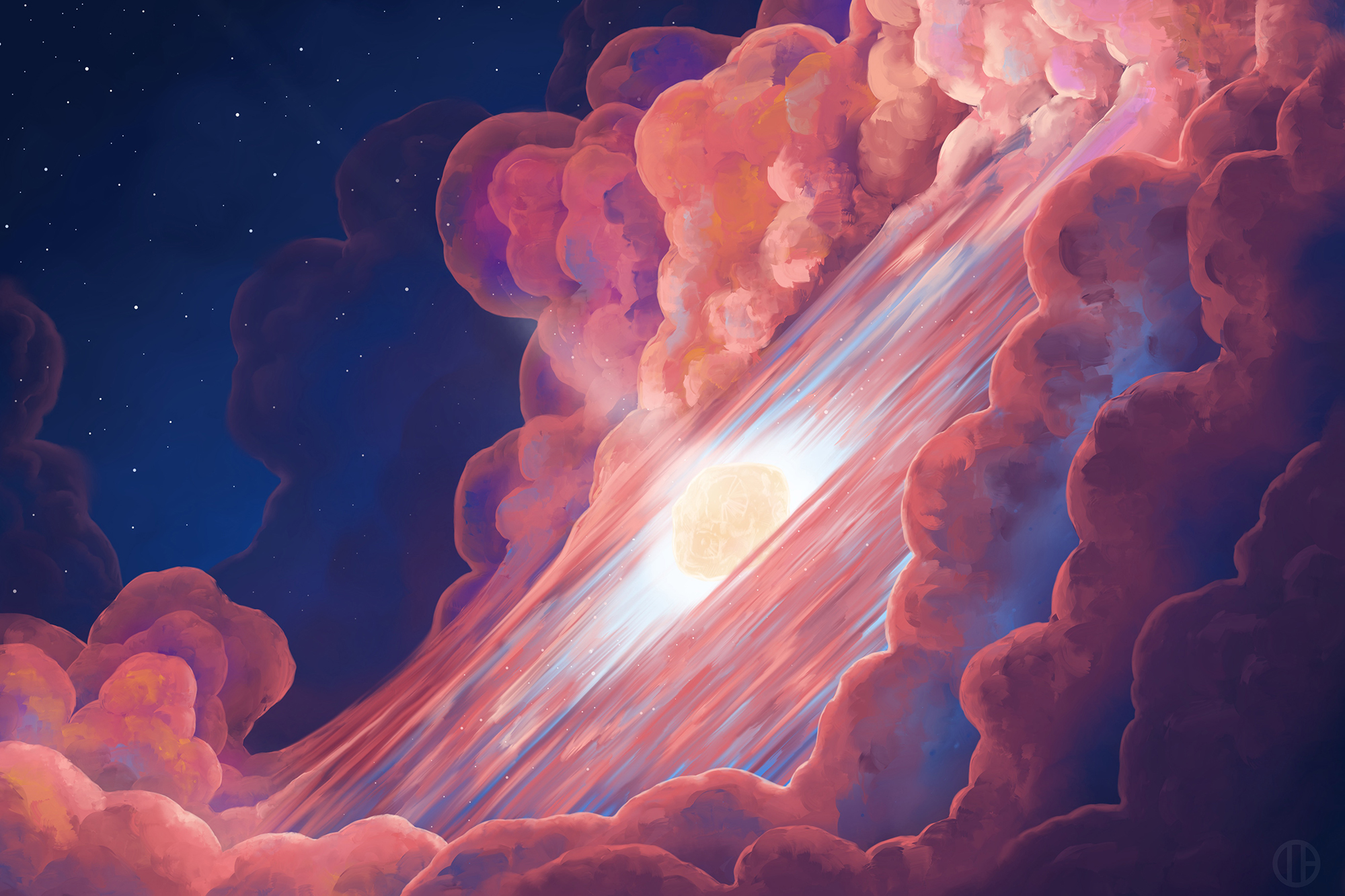 A colorful illustration of the Psyche asteroid.