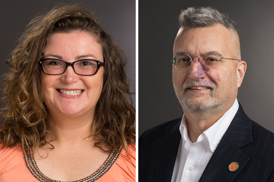 side-by-side portraits of professors Elissa Weeden and Michael McQuaid.