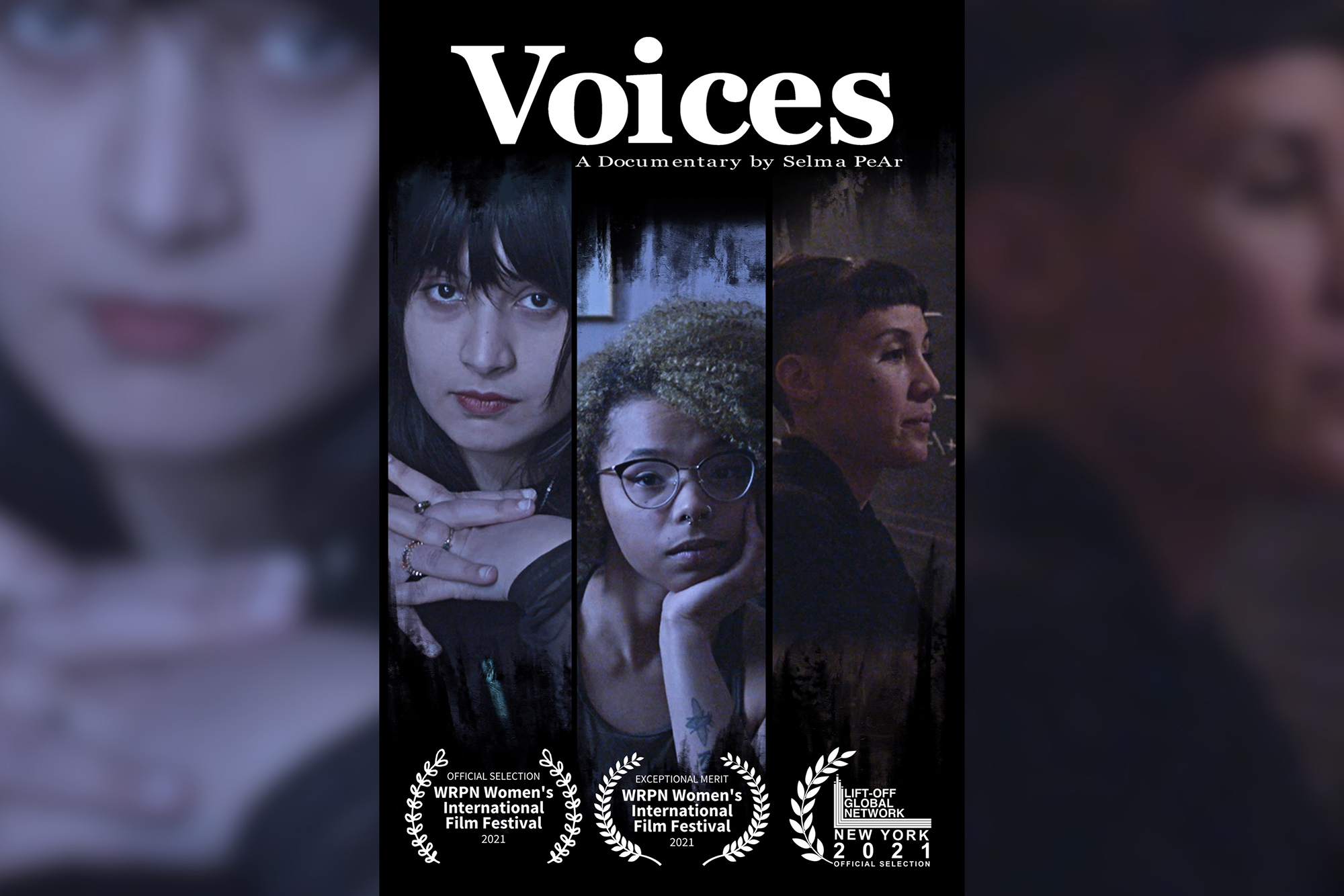A film poster for Voices, with a triptych of three woman protagonists.