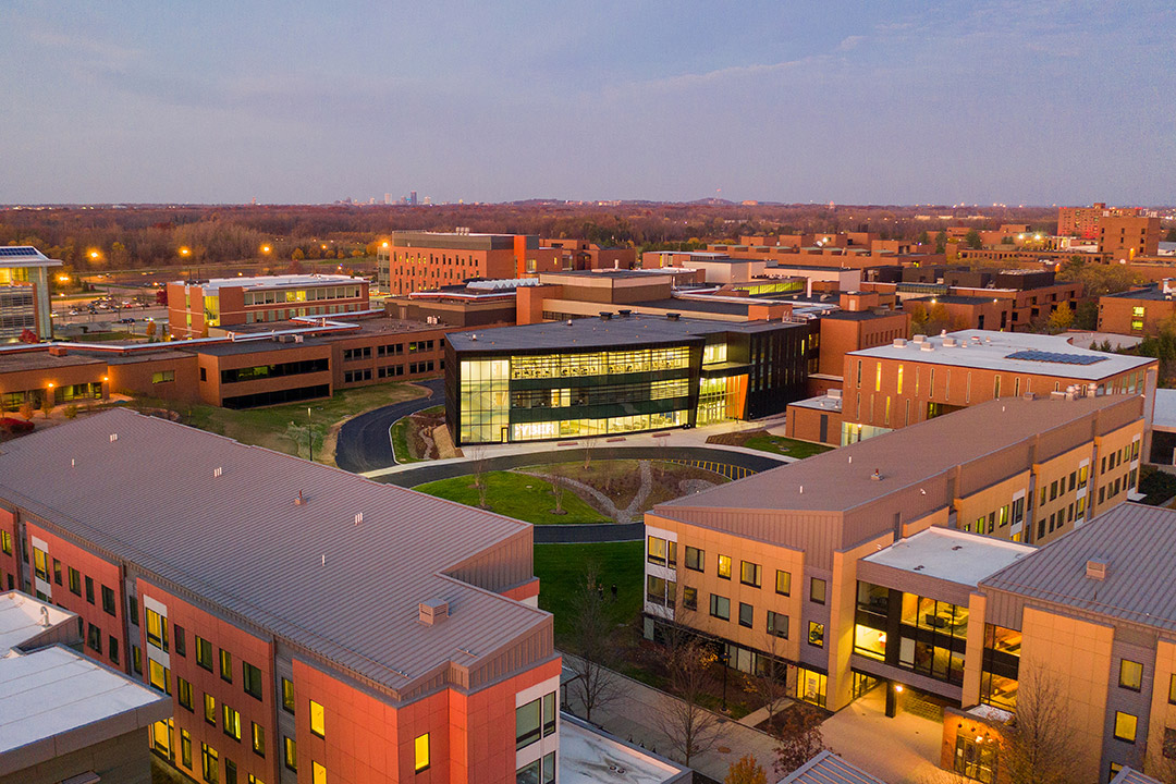 aerial view of several brick buildings on RIT's campus.