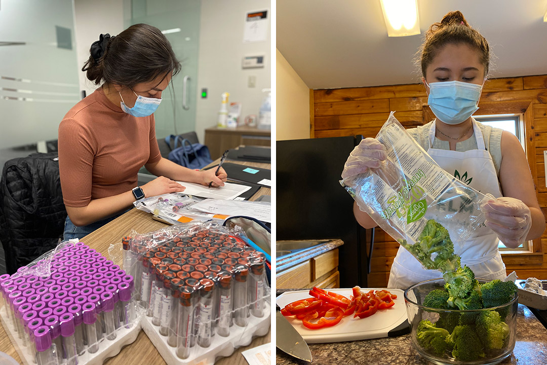 side-by-side images of a student working with test tubes and another student preparing a meal with red peppers and broccoli.