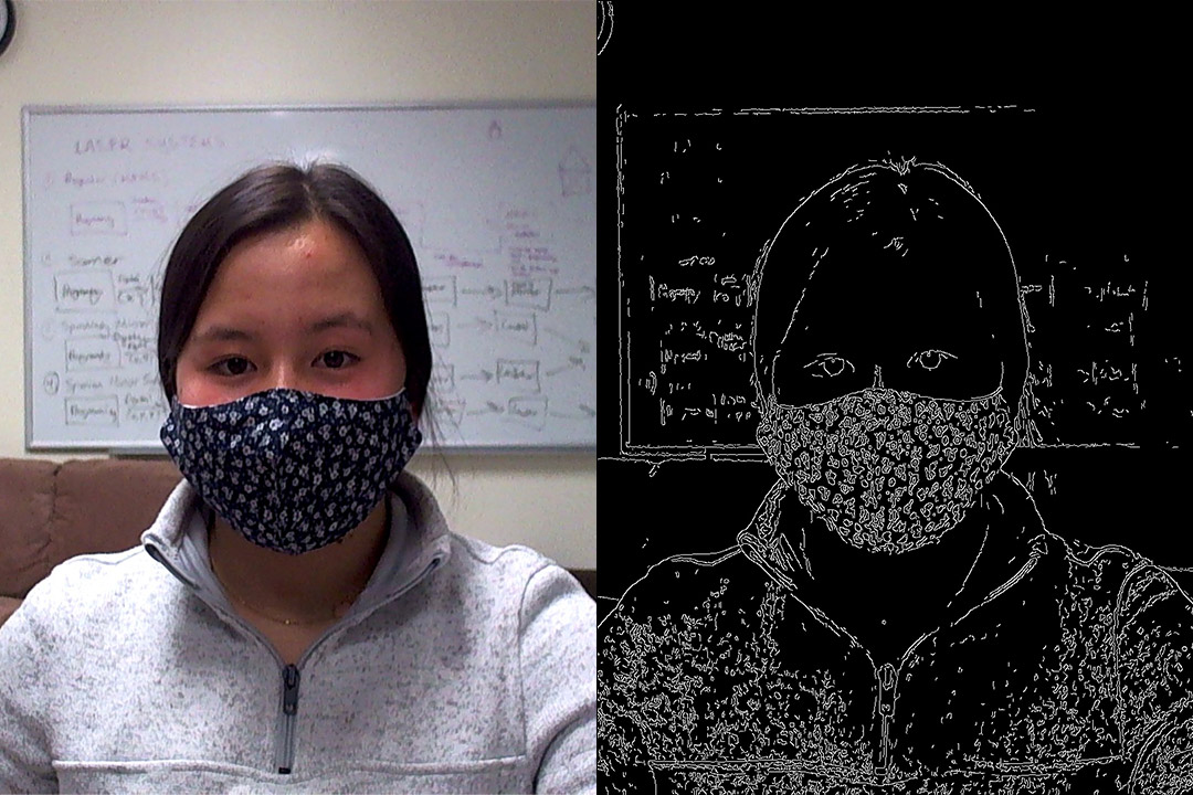 side-by-side images of student wearing a facemask and a digital drawing of the student wearig the mask.