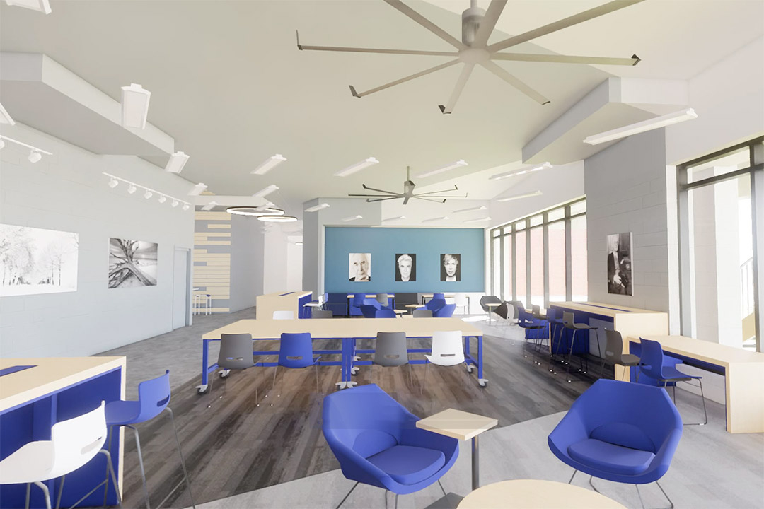 artist rendering of student lounge space with tables and chairs.