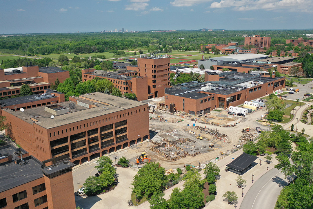 aerial view of construction site on RIT's main campus.