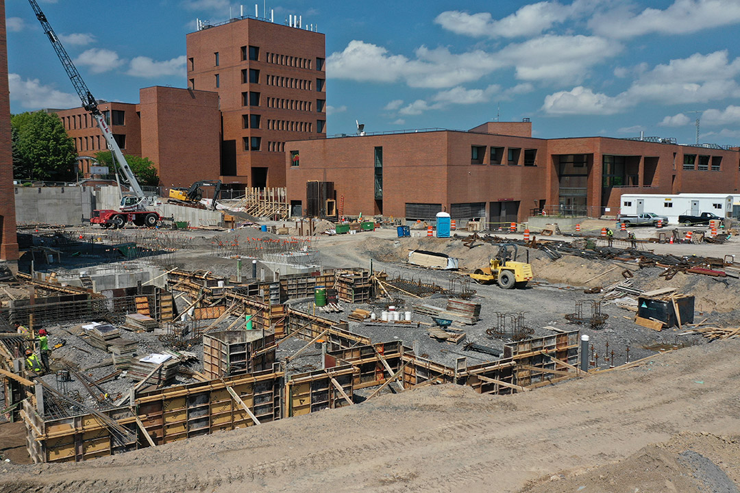foundation of large constrution project on campus.