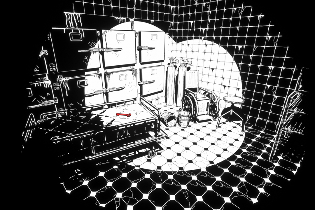 Black and white animated scene of a hospital room with a red key on the hospital bed.