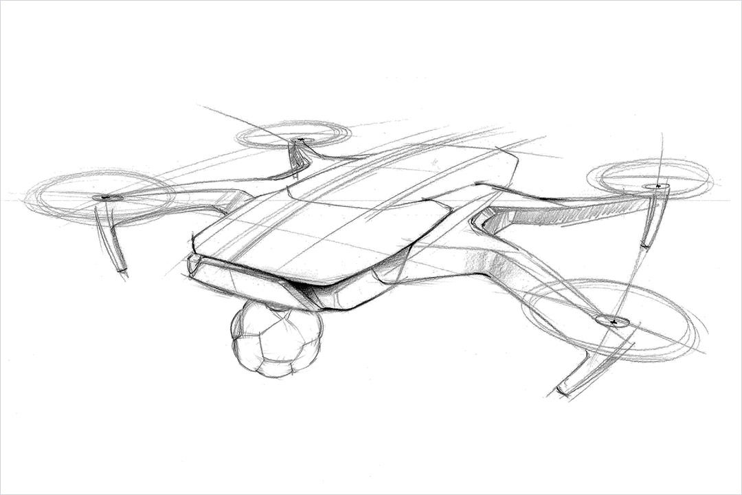 sketch of a camera mounted to a drone.