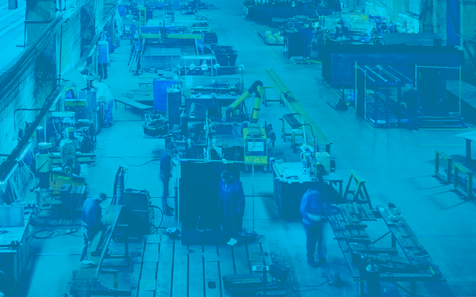 Image of people in a manufacturing warehouse with a blue overlay